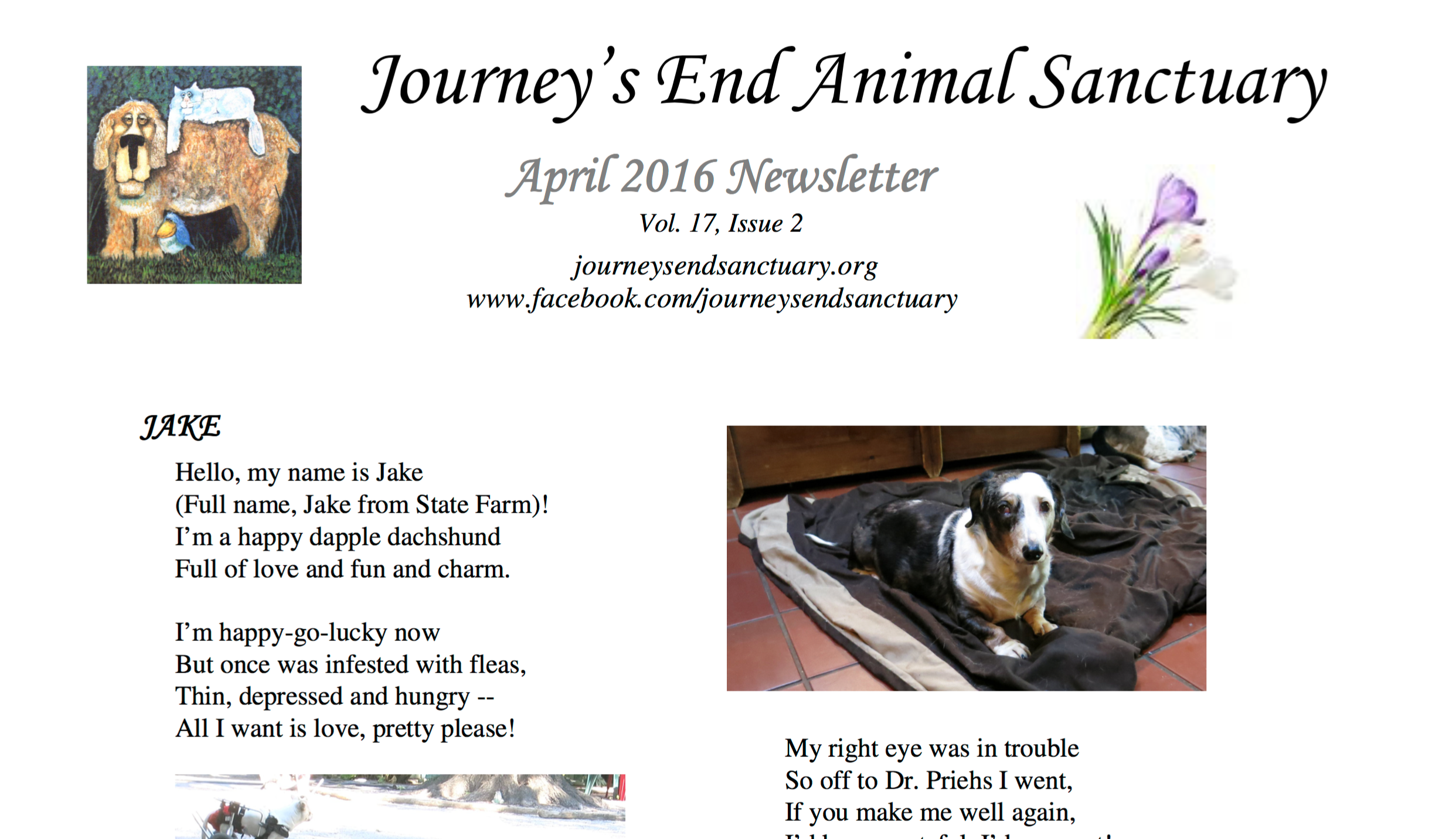Snapshot of Newsletter for Journey's End